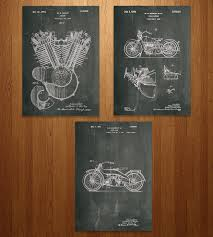 Harley Davidson Home Decor by Harley Davidson Motorcycle Patent Art Print Set Art Prints