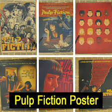 discount wall decals free shipping promotion shop for promotional pulp fiction vintage retro matte kraft paper antique poster wall sticker home decora