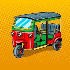 auto rickshaw transport pop art style vector by alexanderpokusay