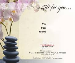 spa gift cards gift certificate template gift certificate template