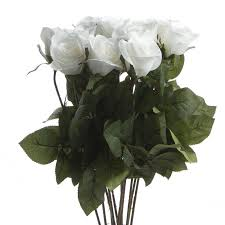 Long Stem Rose Dozen White Artificial Long Stem Roses Picks And Stems Floral
