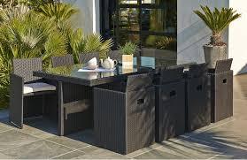 canapé de jardin en résine tressée salon de jardin 8 fauteuils encastrables noir le rêve chez vous