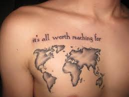 chest creative world map tattoo designs tattoo love