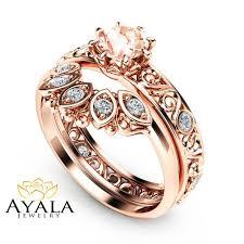 morganite wedding set filigree design morganite wedding ring set in 14k gold unique