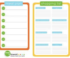 weekly menu templates free sle meal planning