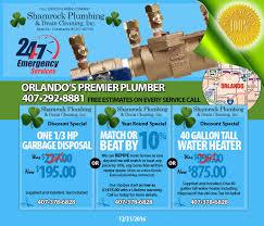 orlando plumber coupons shamrock plumbing 407 292 8881