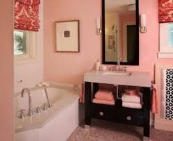 modern bathroom for teen with red and white floor and wall