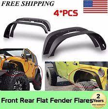 jeep wrangler unlimited flat fenders 4x steel front rear flat fender flares for 07 17 jeep wrangler jk