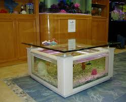 creative fish tank with coffee table white wooden frame