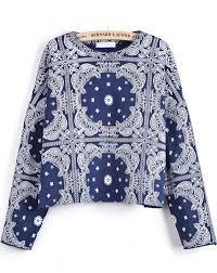 print blouse blue sleeve cashew print blouse shein sheinside