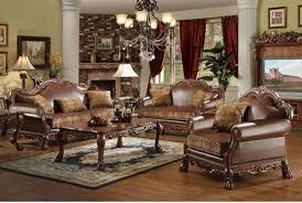 Brown Sofa Set Designs Brown Bycast Leather U0026 Chenille Traditional 3pc Sofa Set