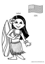 dessin à colorier de leilani une charmante fille hawaïenne