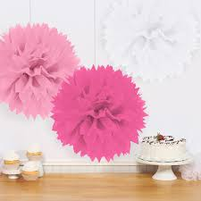 girlie pink fluffy tissue decorations 3
