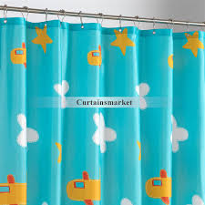 Aqua Blue Shower Curtains Sky With White Clouds And Planes Shower Curtains For Cute Kids