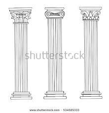 Greek Column Pedestal Set Ancient Greek Columns Doric Ionic Stock Vector 372034888