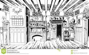 vintage oak dining room hand drawn graphic stock illustration