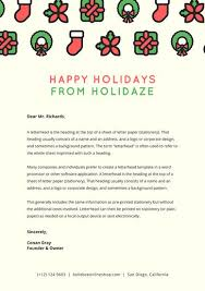 cream letterhead with red and green christmas icons christmas