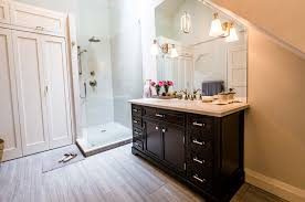 house trendy bathroom with shower and no tub quaint small