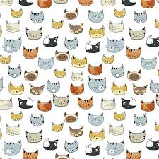 tanya draws illustration and design cat face doodle pattern