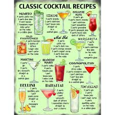 cocktail recipes book classic cocktail recipes metal wall sign m10647 amazon co uk