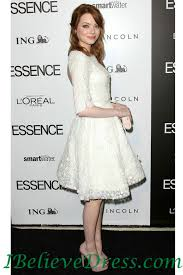 lace emma stone middle sleeve white prom party dress knee length