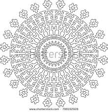 complicated coloring pages for adults mandala black white round ethnic pattern stock vector 717587971