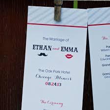 flat wedding programs moustache and design tea length flat wedding programs