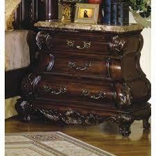caledonian traditional dark brown cherry 3 drawer bombe nightstand