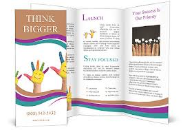 volunteer brochure template family concept three colorful painted with smiling of