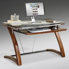 wood desk with glass top rectangle brown wooden desk with shelf for keyboard combined with