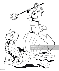 black and white illustration of ancient greek god poseidon holding