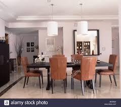Modern White Dining Room Set by Upholstered Tan Leather Chairs At Table In Modern White Dining
