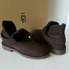 ugg australia womens emalie brown stout leather ankle boot 7 ebay 47 ugg shoes ugg mckay chocolate suede sheepskin ankle boots