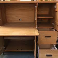 Computer Desk Armoire Oak Room U0026 Board Linear White Oak Office Armoire Chairish