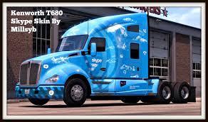 kenworth dealer kenworth t680 skype skin mod american truck simulator mod ats mod