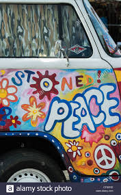 van volkswagen hippie vw volkswagen camper van painted love and peace hippie style stock