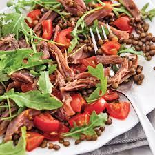 canard cuisine salade tiède de lentilles canard confit et roquette recettes