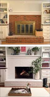 fireplace before and after painted brick basement