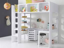 lit surélevé avec bureau lit mezzanine avec bureau pour fille visuel 3