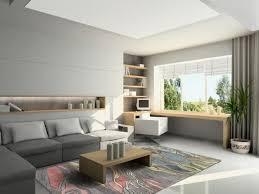 office white wood table white tile flooring modern home office