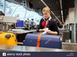 duesseldorf germany ground staff at airberlin check in desk at