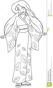 caucasian woman in kimono coloring page stock image image 38505431