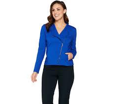winter biker jacket h by halston u2014 blazers u0026 jackets u2014 fashion u2014 qvc com