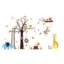 stikers chambre bébé monkey tree colorful vinyl stickers muraux décor decal mural