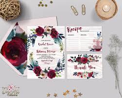 marsala bridal shower invitation printable navy burgundy