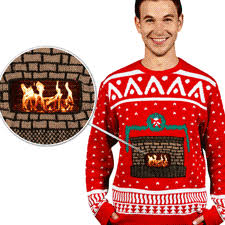 digital fireplace sweater