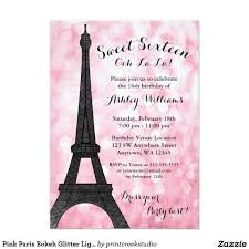 Sweet 16 Birthday Invitation Cards Pink Paris Bokeh Glitter Lights Sweet 16 Invitations Sweet 16