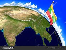 Myanmar Flag Photos Myanmar National Flag Marking The Country Location On World Map