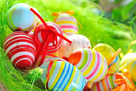 painted easter baskets colorful painted easter eggs in basket stock photo colourbox