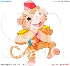 royalty free vector clip art illustration of a cute monkey hanging